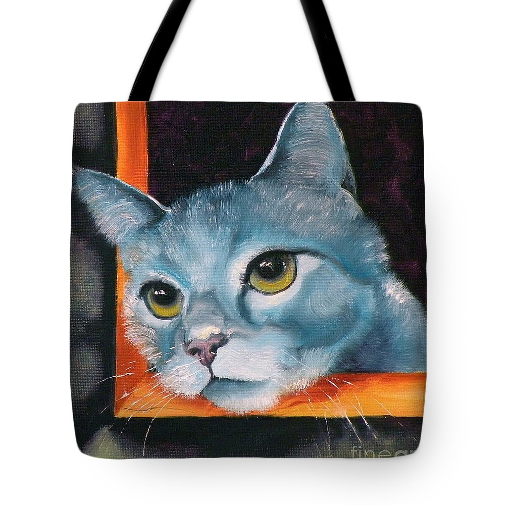 Cat Tote Bag featuring the painting The Heart Is A Lonely Hunter by Susan A Becker
