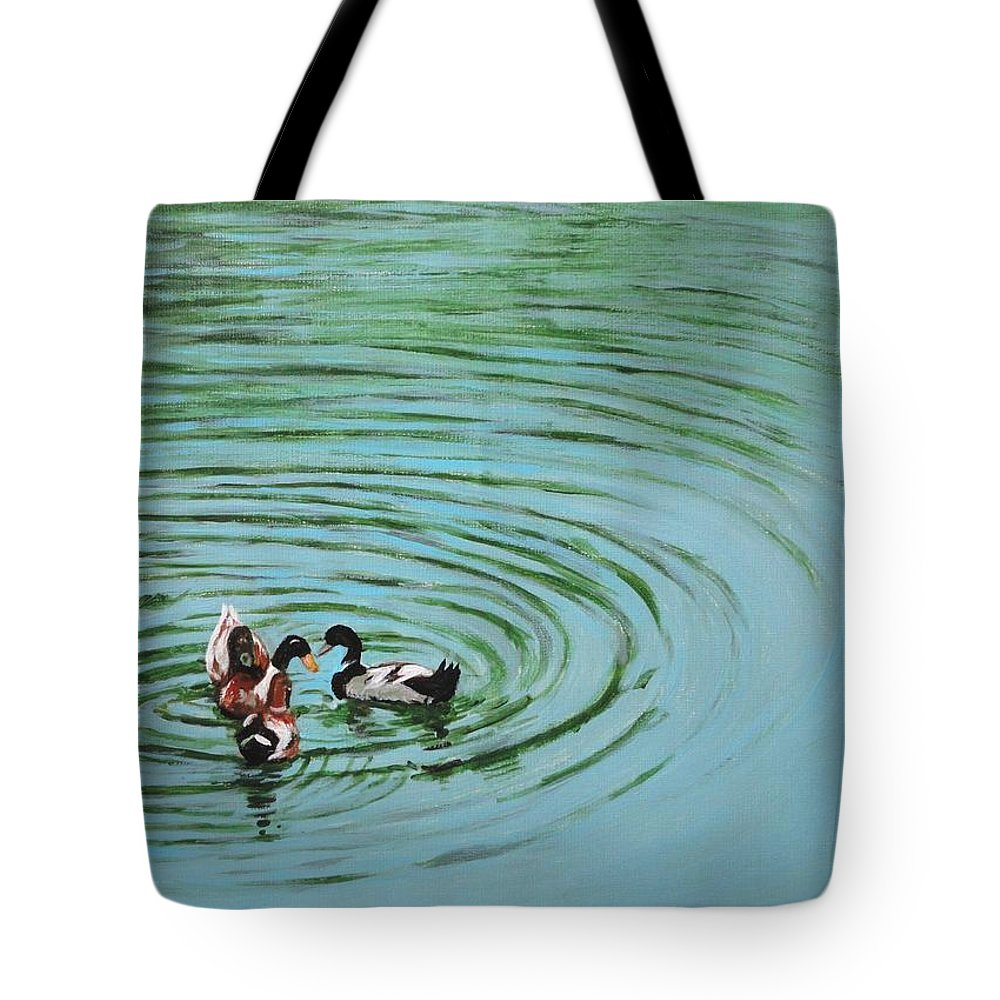 Duck Tote Bag featuring the painting The Herd Series - Duck Meet by Usha Shantharam
