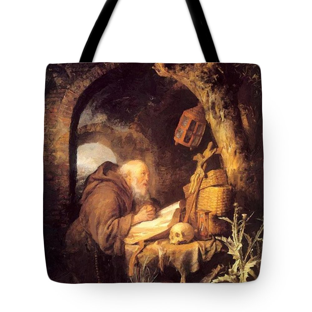 The Tote Bag featuring the painting The Hermit 1670 by Dou Gerrit