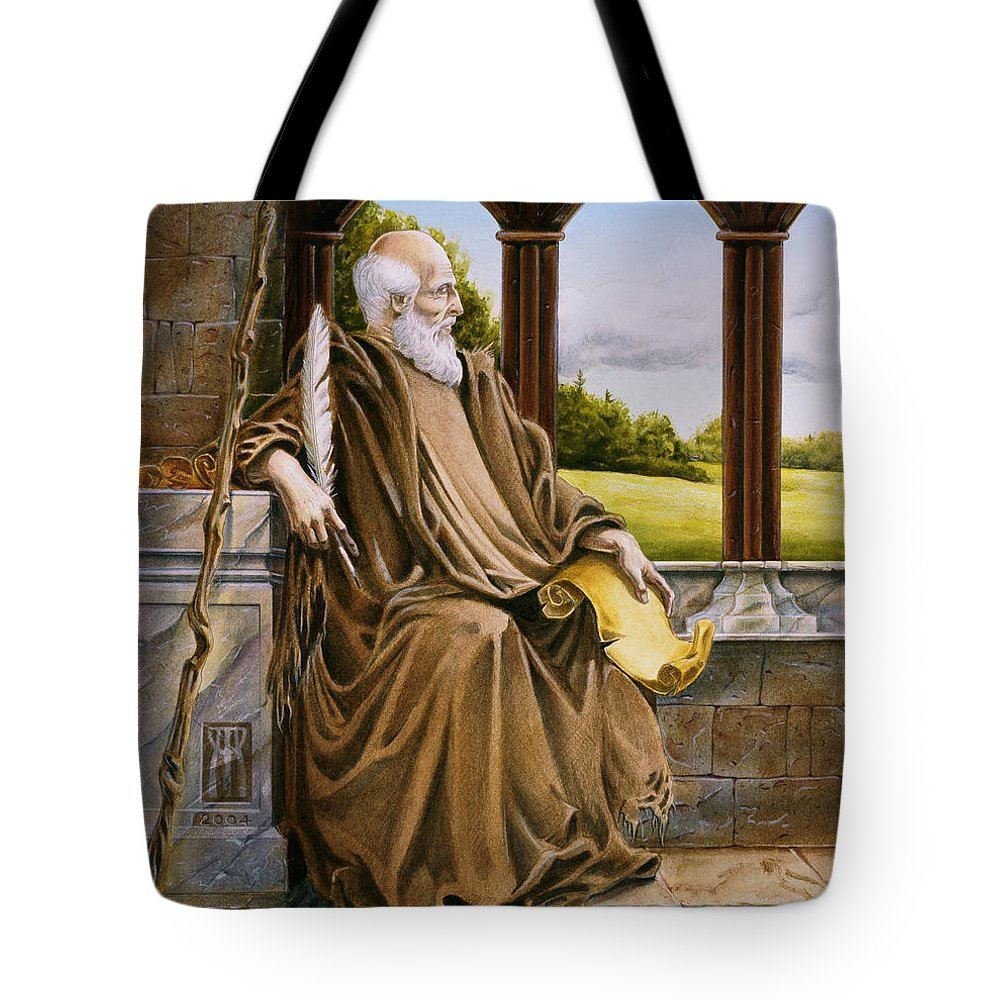 Wise Man Tote Bag featuring the painting The Hermit Nascien by Melissa A Benson