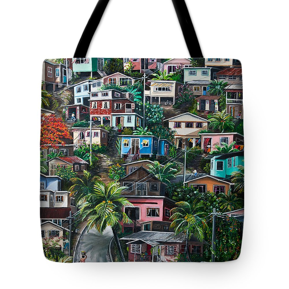 Landscape Painting Cityscape Painting Houses Painting Hill Painting Lavantille Port Of Spain Painting Trinidad And Tobago Painting Caribbean Painting Tropical Painting Caribbean Painting Original Painting Greeting Card Painting Tote Bag featuring the painting THE HILL   Trinidad by Karin Dawn Kelshall- Best