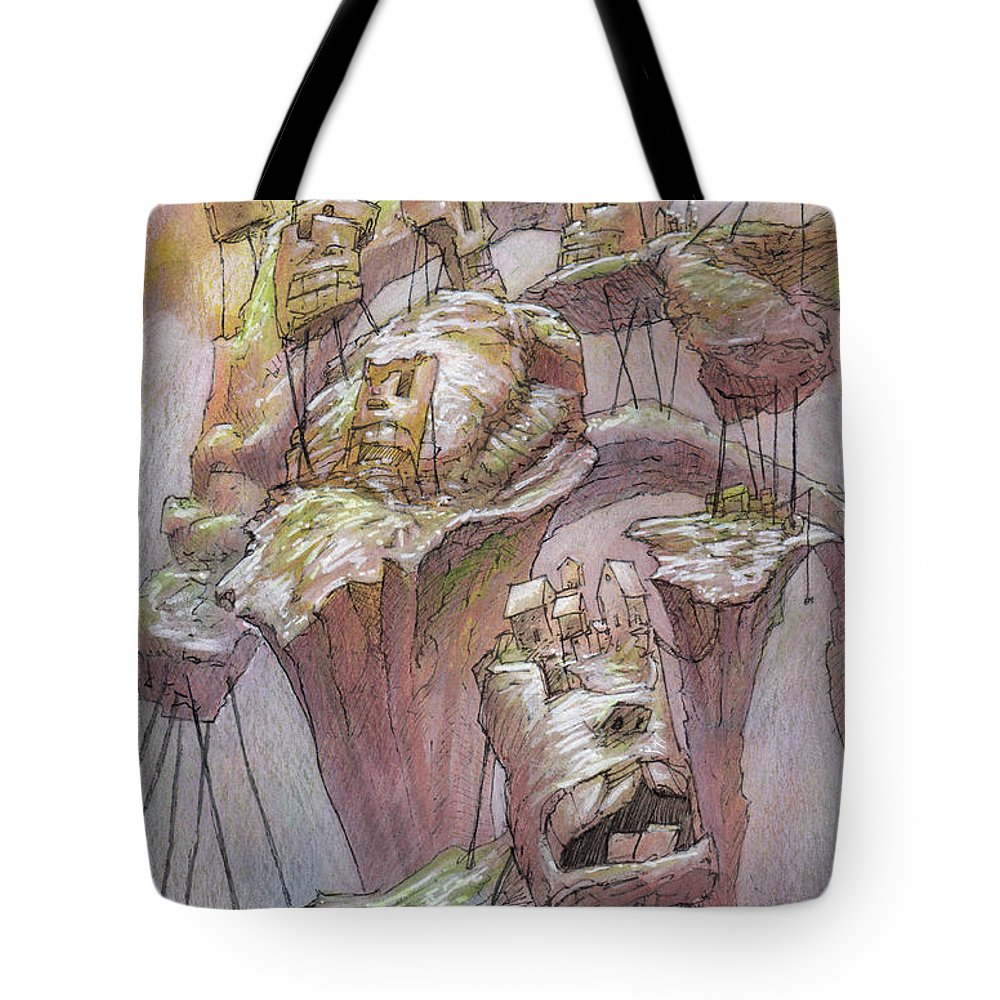 Town Tote Bag featuring the mixed media The Hillrot Group by Ethan Harris