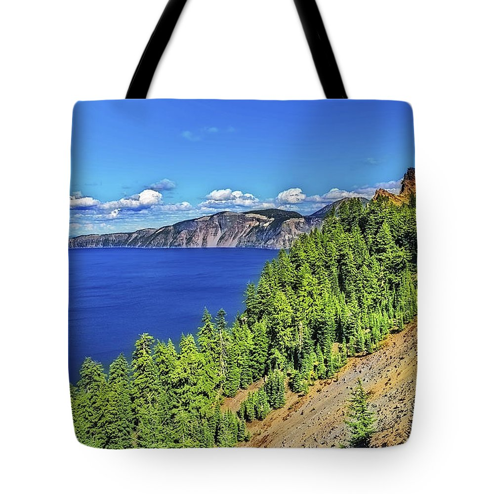 Lake Tote Bag featuring the photograph The Hills Of Crater Lake Oregon by Nancy Marie Ricketts