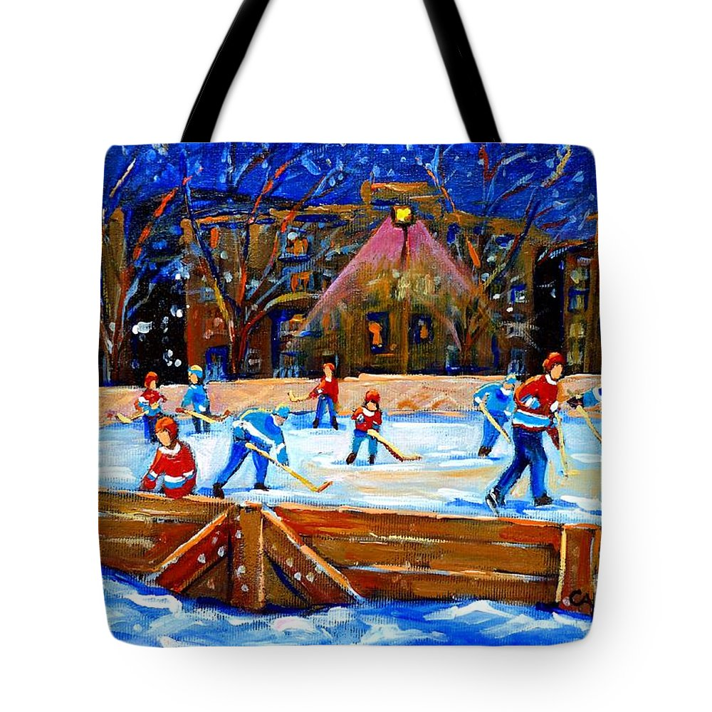 Snow Tote Bag featuring the painting The Hockey Rink by Carole Spandau