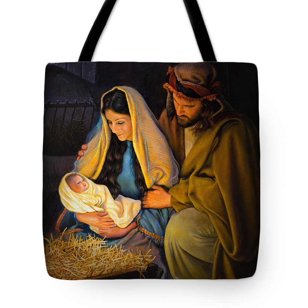 Jesus Tote Bag featuring the painting The Holy Family by Greg Olsen