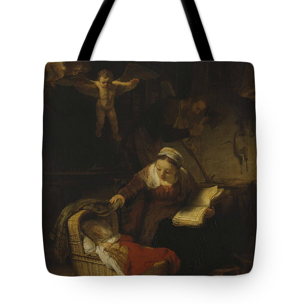 Rembrandt Tote Bag featuring the painting The Holy Family With Angels by Rembrandt