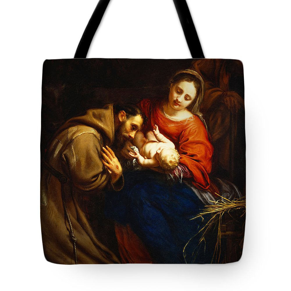 Holy Tote Bag featuring the painting The Holy Family with Saint Francis by Jacob van Oost