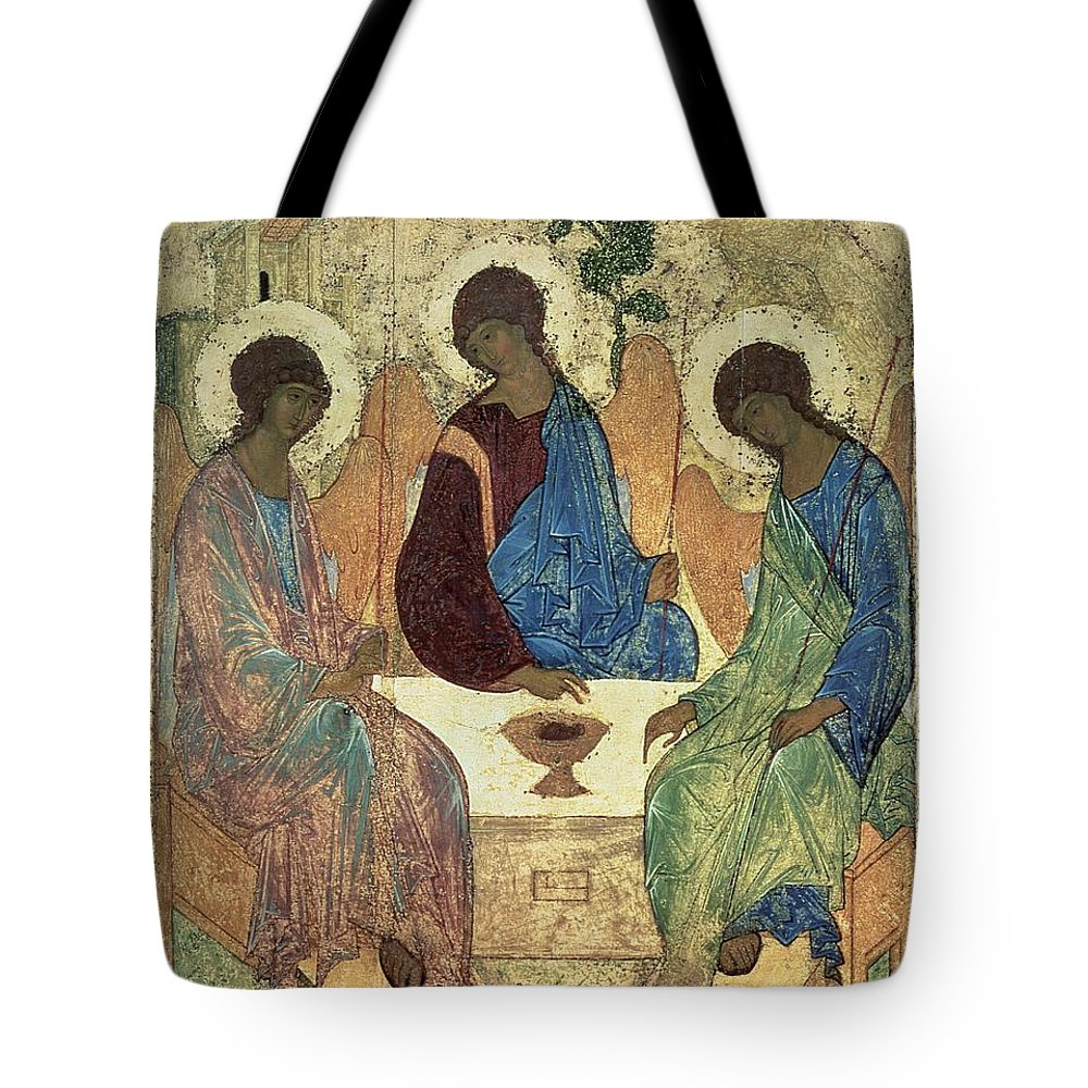 The Tote Bag featuring the painting The Holy Trinity by Andrei Rublev