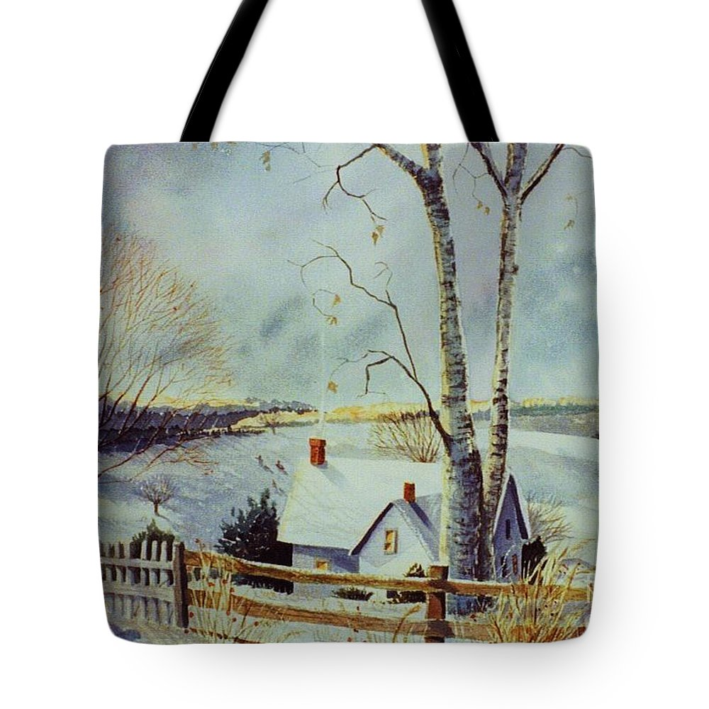 Winter Scene Tote Bag featuring the painting The Homestead by Marilyn Smith