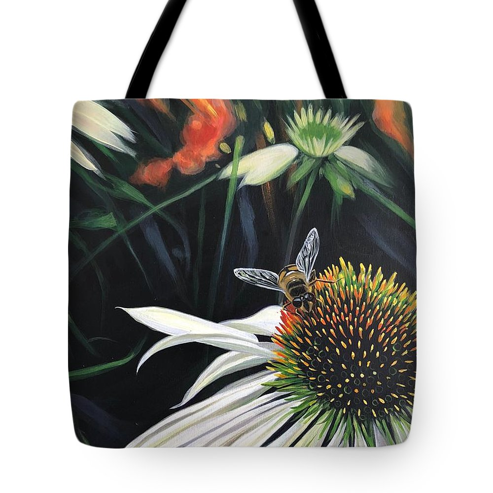 Daisy Tote Bag featuring the painting The Honeythief by Hunter Jay