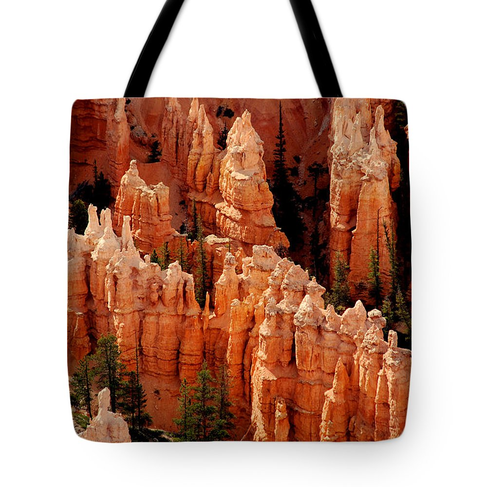 Landmark Tote Bag featuring the photograph The Hoodoos In Bryce Canyon by Susanne Van Hulst