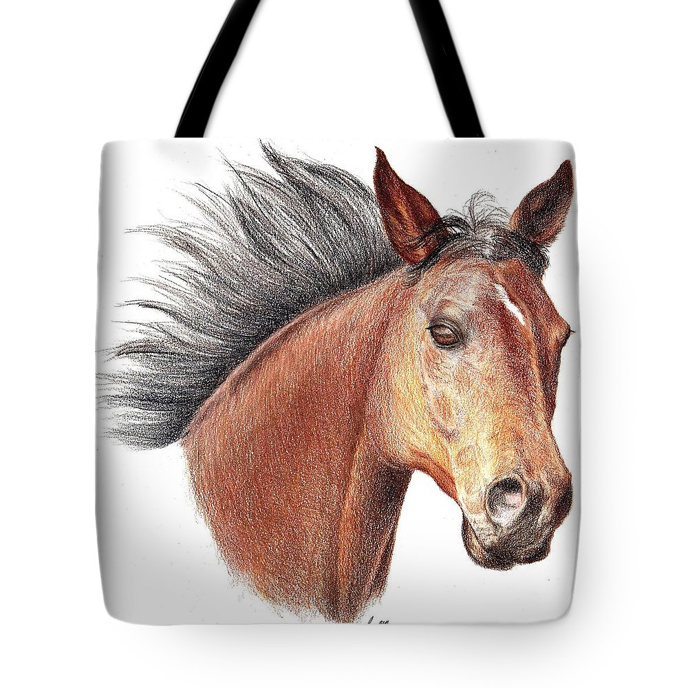 Portraits Tote Bag featuring the drawing The Horse by Mike Ivey