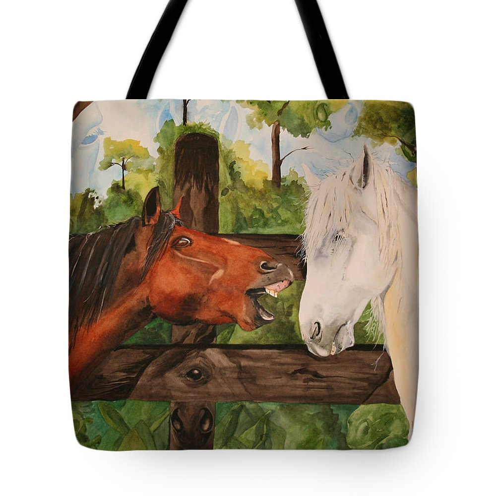 Horse Tote Bag featuring the painting The Horse Whisperers by Jean Blackmer
