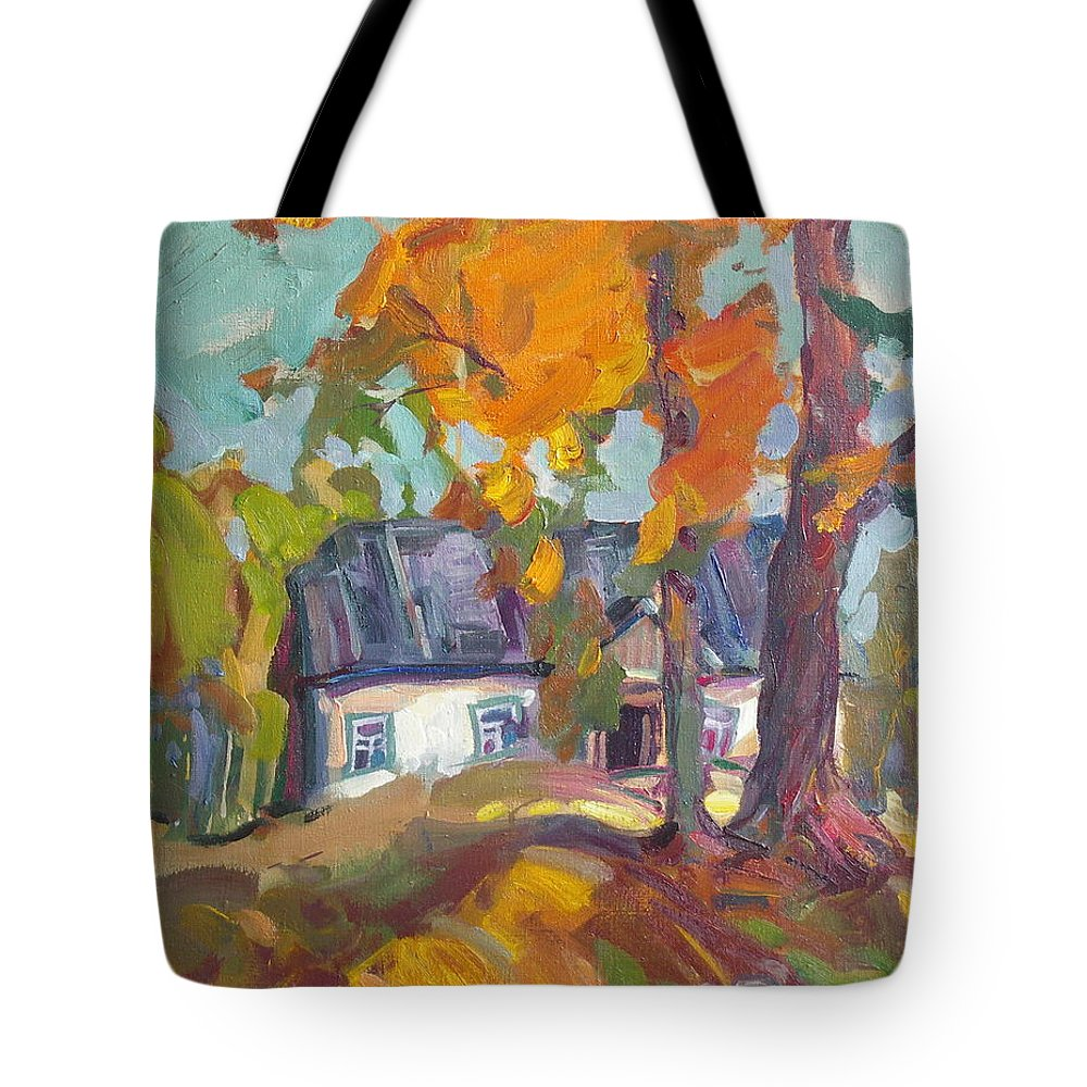 Oil Tote Bag featuring the painting The House In Chervonka Village by Sergey Ignatenko