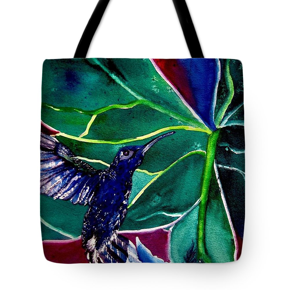 Hummingbird Tote Bag featuring the painting The Hummingbird And The Trillium by Lil Taylor