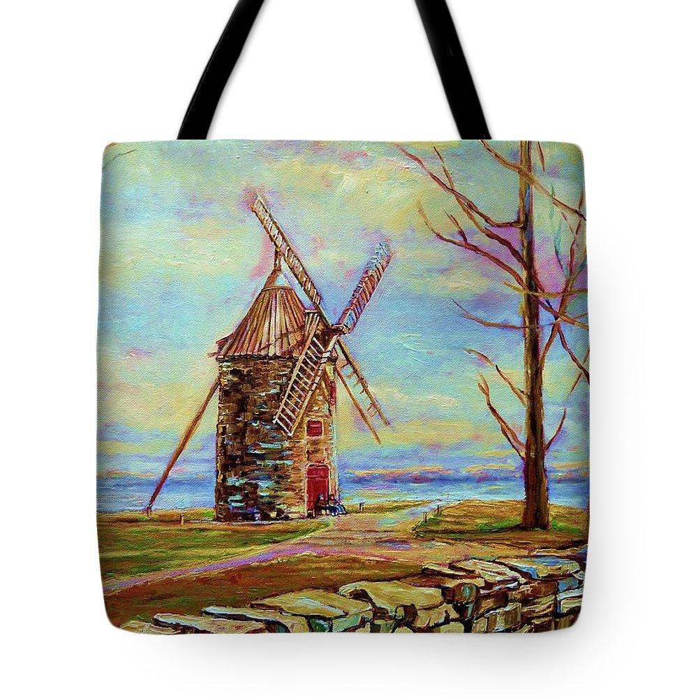 Ile Perrot Windmill Tote Bag featuring the painting The Ile Perrot Windmill Moulin Ile Perrot Quebec by Carole Spandau