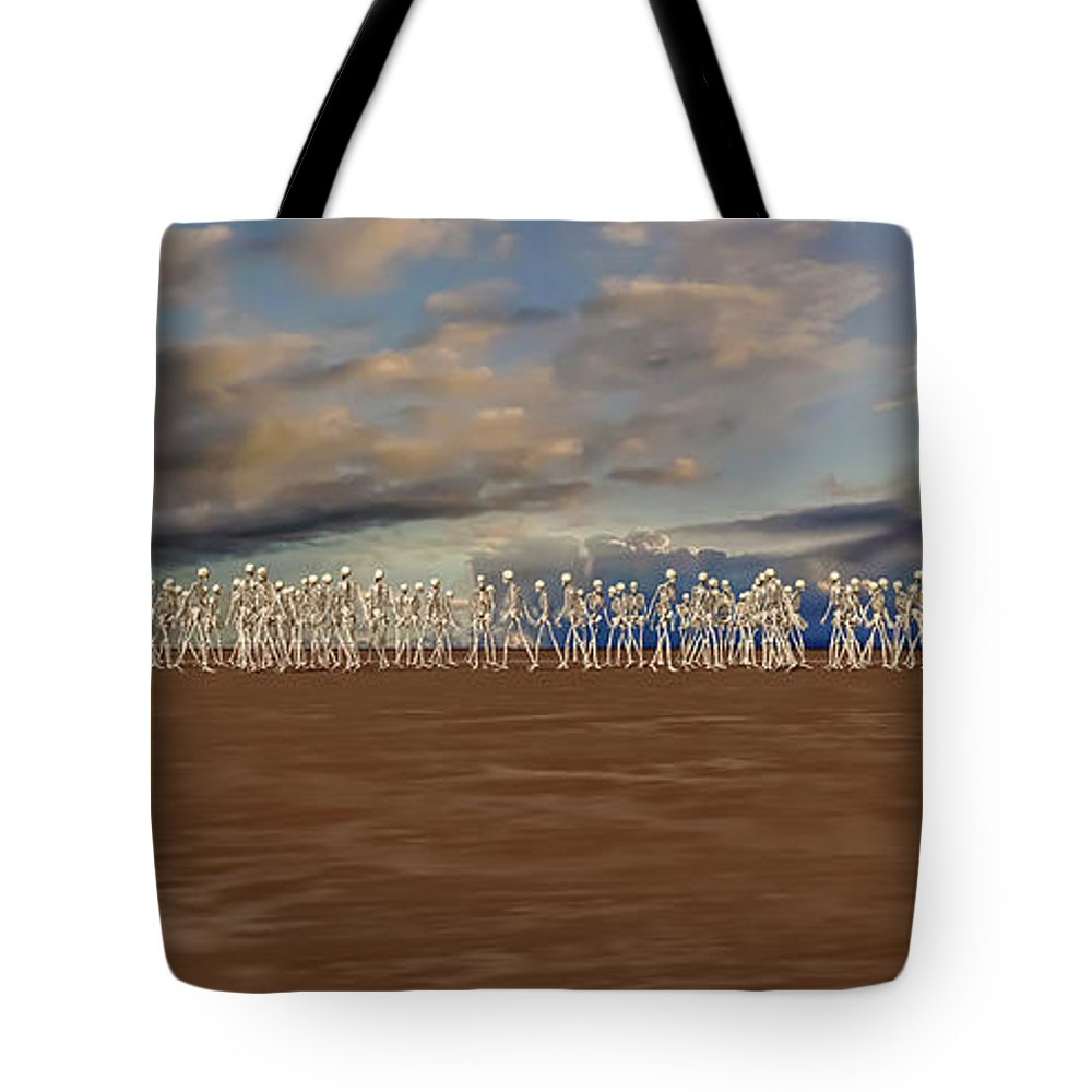 Skeleton Tote Bag featuring the digital art The Illusionist 2 by Betsy Knapp