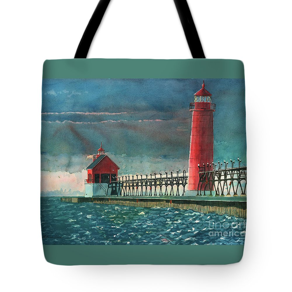 Lighthouses Tote Bag featuring the painting The Impending Storm by LeAnne Sowa