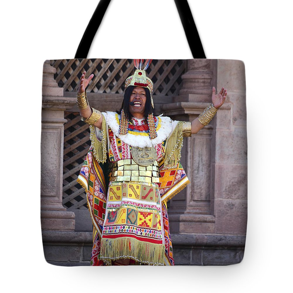 Peru Tote Bag featuring the photograph The Inca At Inti Raymi by James Brunker