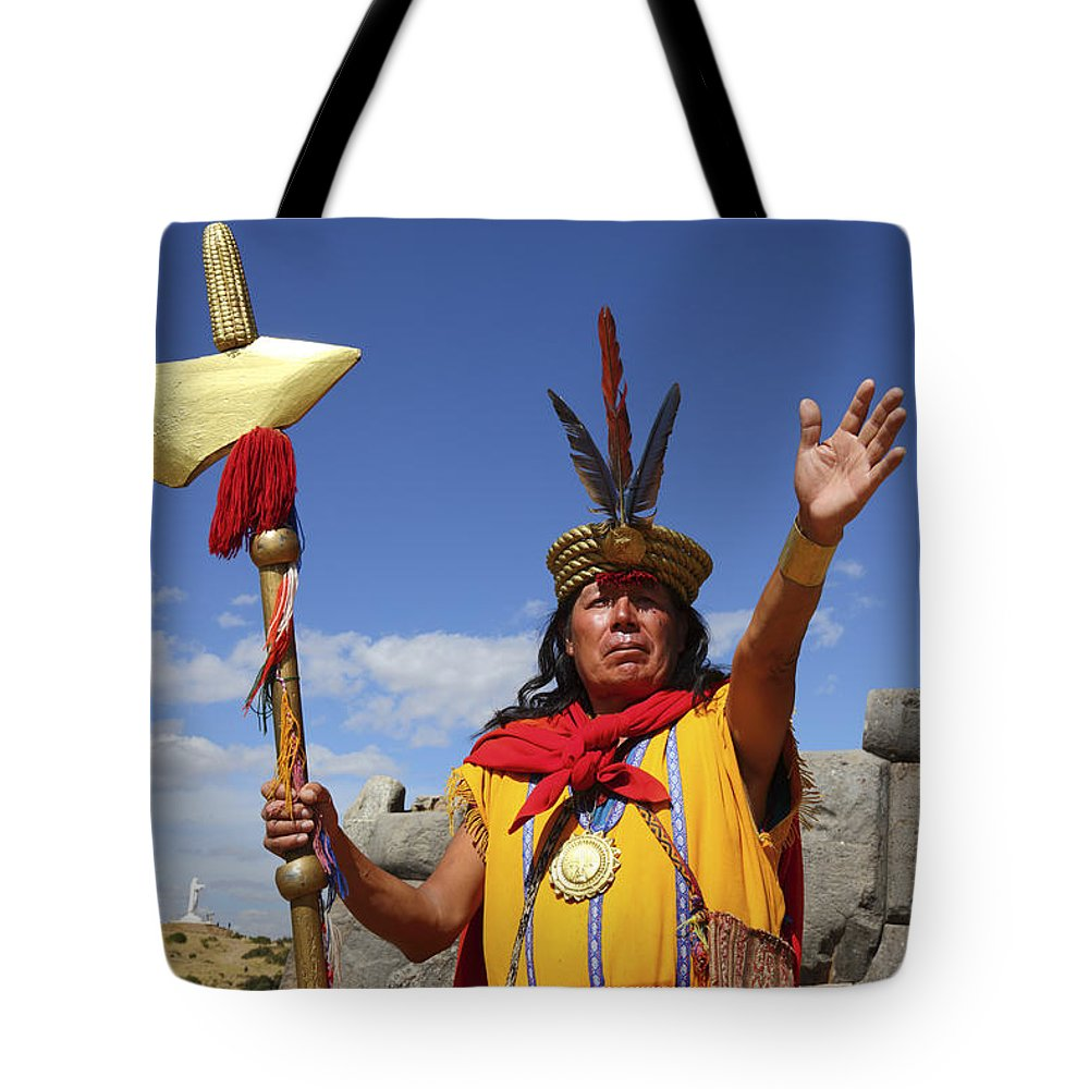 Peru Tote Bag featuring the photograph The Inca At Sacsayhuaman by James Brunker