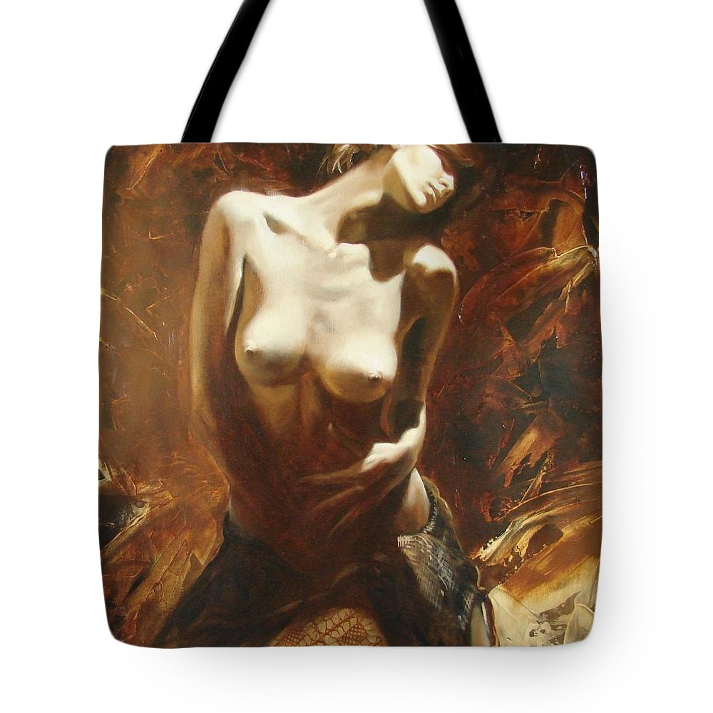 Oil Tote Bag featuring the painting The Incinerating Passion by Sergey Ignatenko