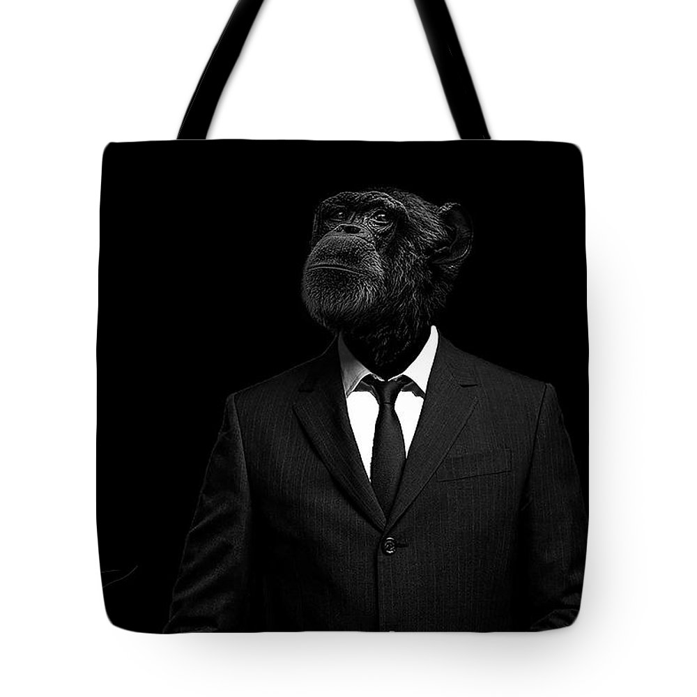 Chimpanzee Tote Bag featuring the photograph The interview by Paul Neville
