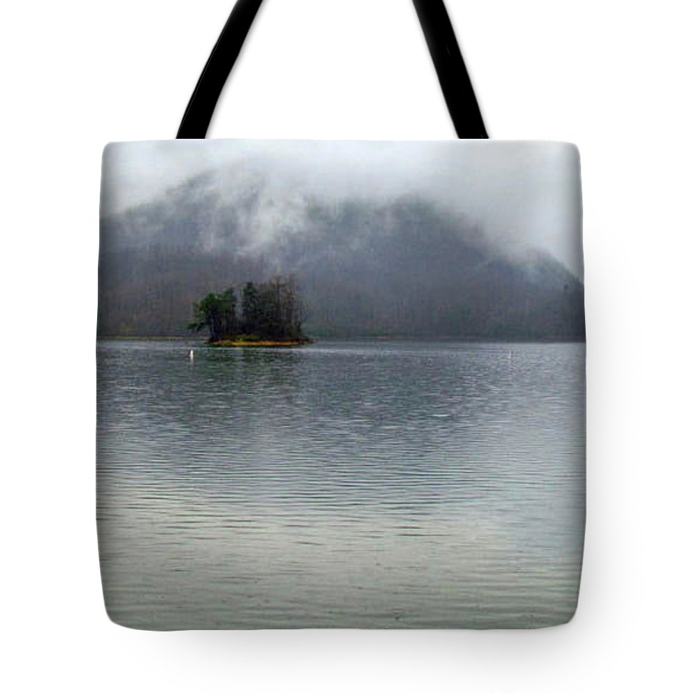 Landscape Waterscape Lake Watauga Tennessee Fog Mist Mountains Tote Bag featuring the photograph The Island by Judy Baird