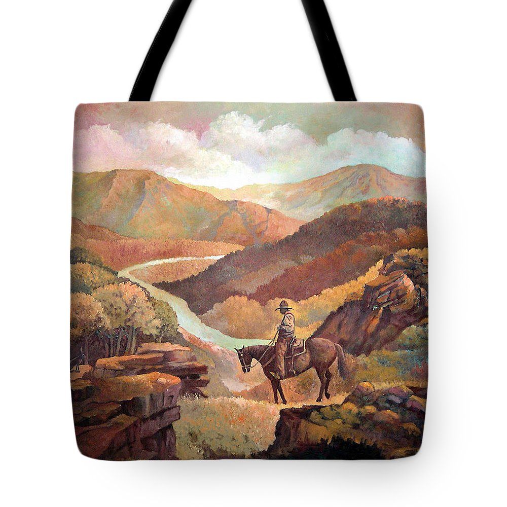Mountains Colorado New Mexico Arizona Sunrise Southwest Landscape Jackrabbit Cowboy Giclee Prints Tote Bag featuring the painting The Jackrabbit Watches by Donn Kay