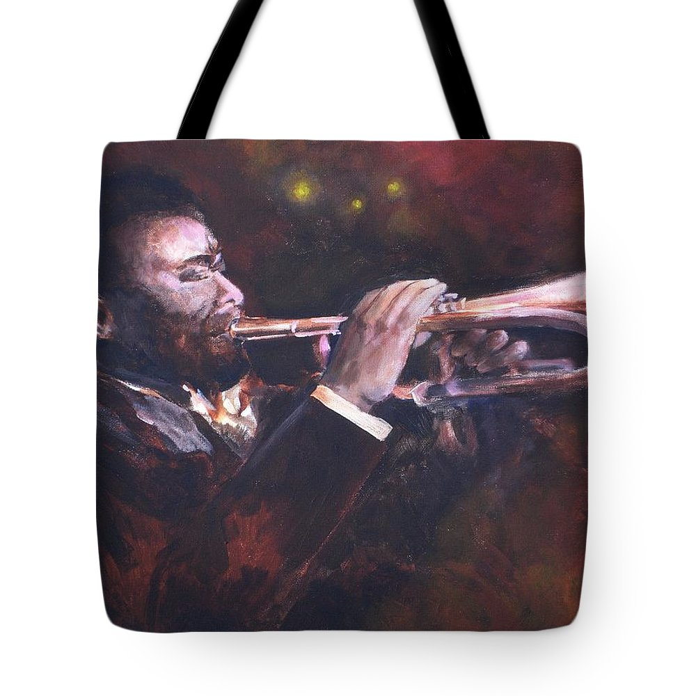 Trumpet Tote Bag featuring the painting The Jazz Player by Jun Jamosmos