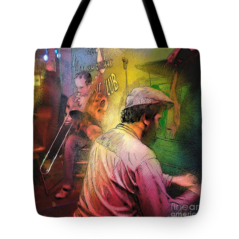 Jazz Tote Bag featuring the painting The Jazz Vipers In New Orleans 01 by Miki De Goodaboom