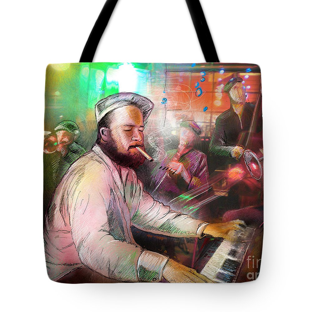 Jazz Tote Bag featuring the painting The Jazz Vipers In New Orleans 04 by Miki De Goodaboom