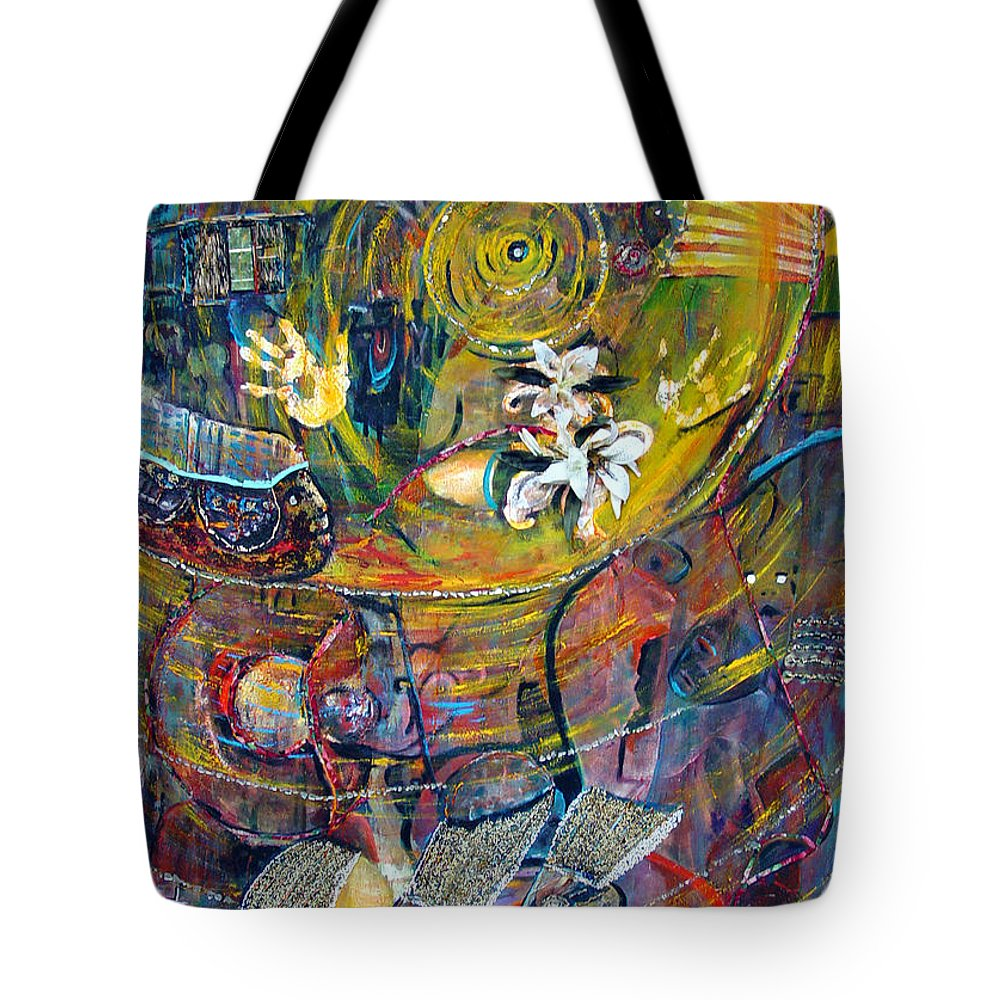 Figures Tote Bag featuring the painting The Journey by Peggy Blood