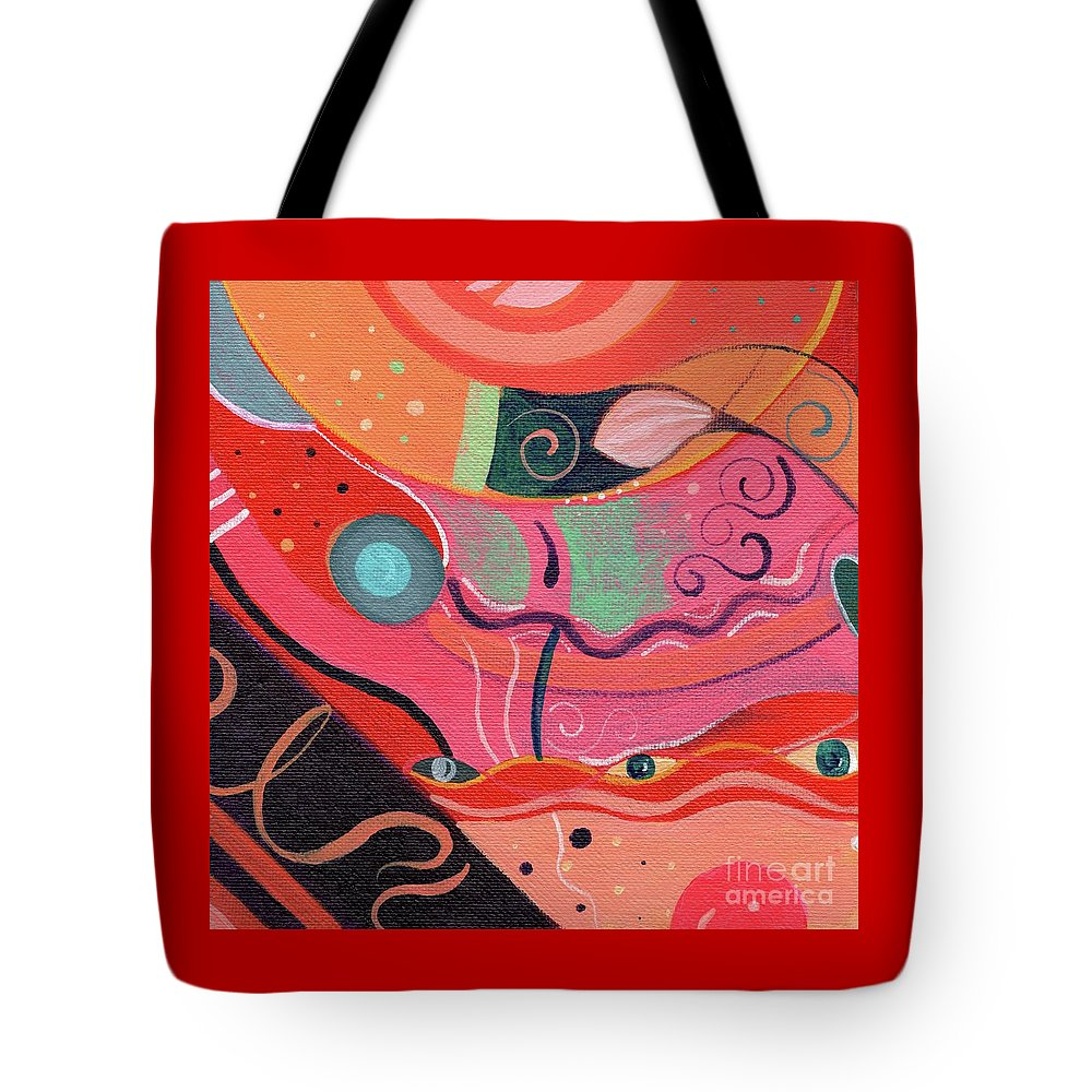 The Joy Of Design Xlviii Upside Down By Helena Tiainen Tote Bag featuring the painting The Joy Of Design X L V I I I Upside Down by Helena Tiainen