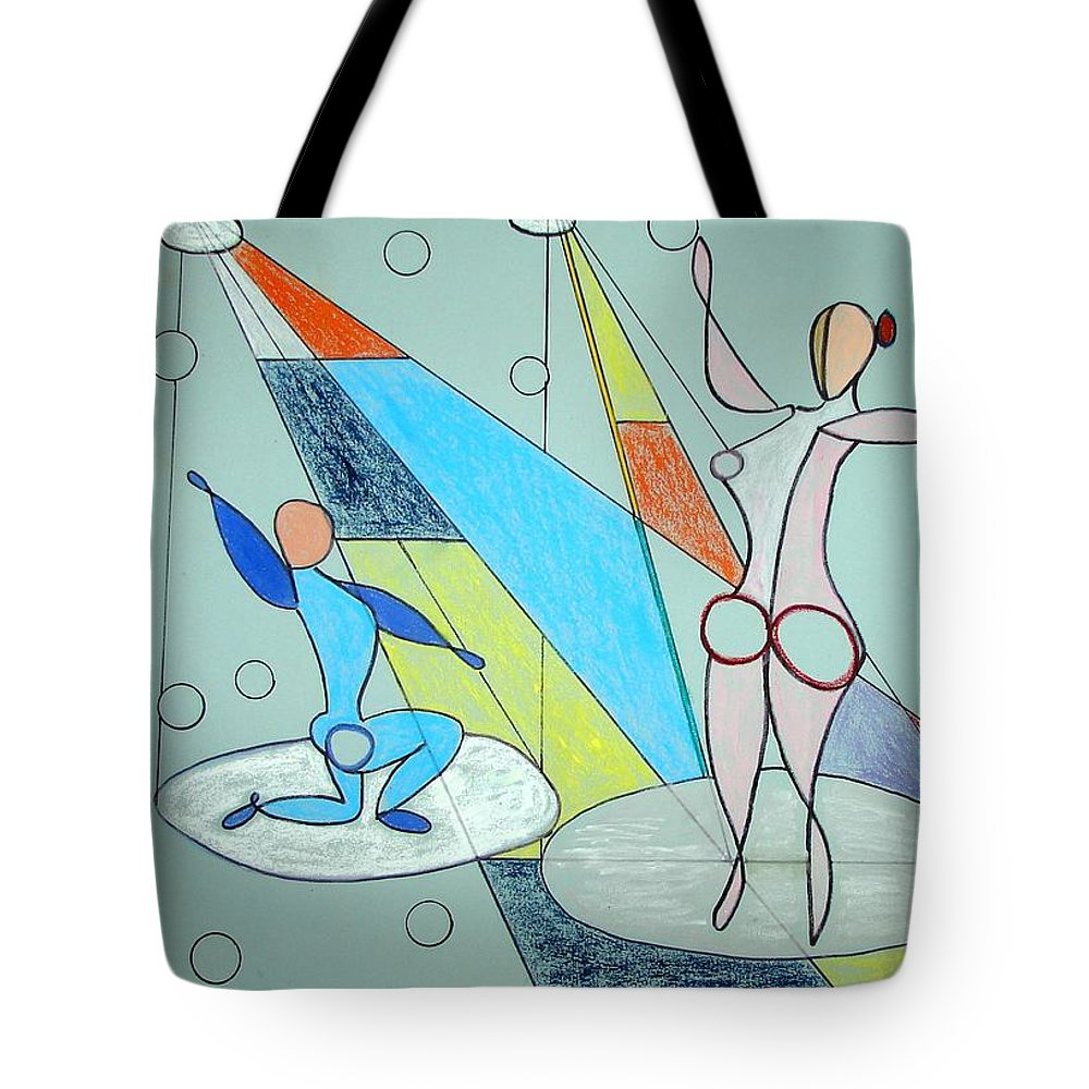 Juggling Tote Bag featuring the drawing The Jugglers by J R Seymour