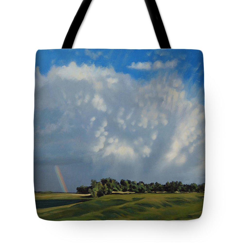 Landscape Tote Bag featuring the painting The June Rains Have Passed by Bruce Morrison
