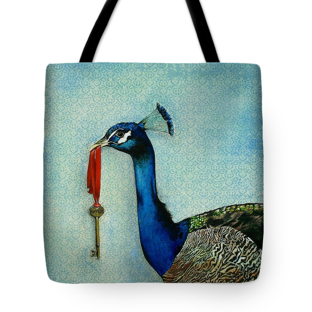 The Key To Success Tote Bag featuring the painting The Key To Success by Carrie Jackson
