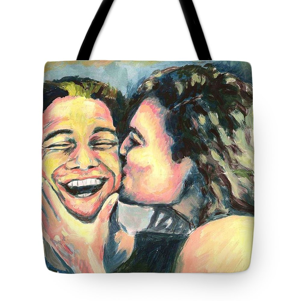 Man Tote Bag featuring the painting The Kiss by Nicole Zeug