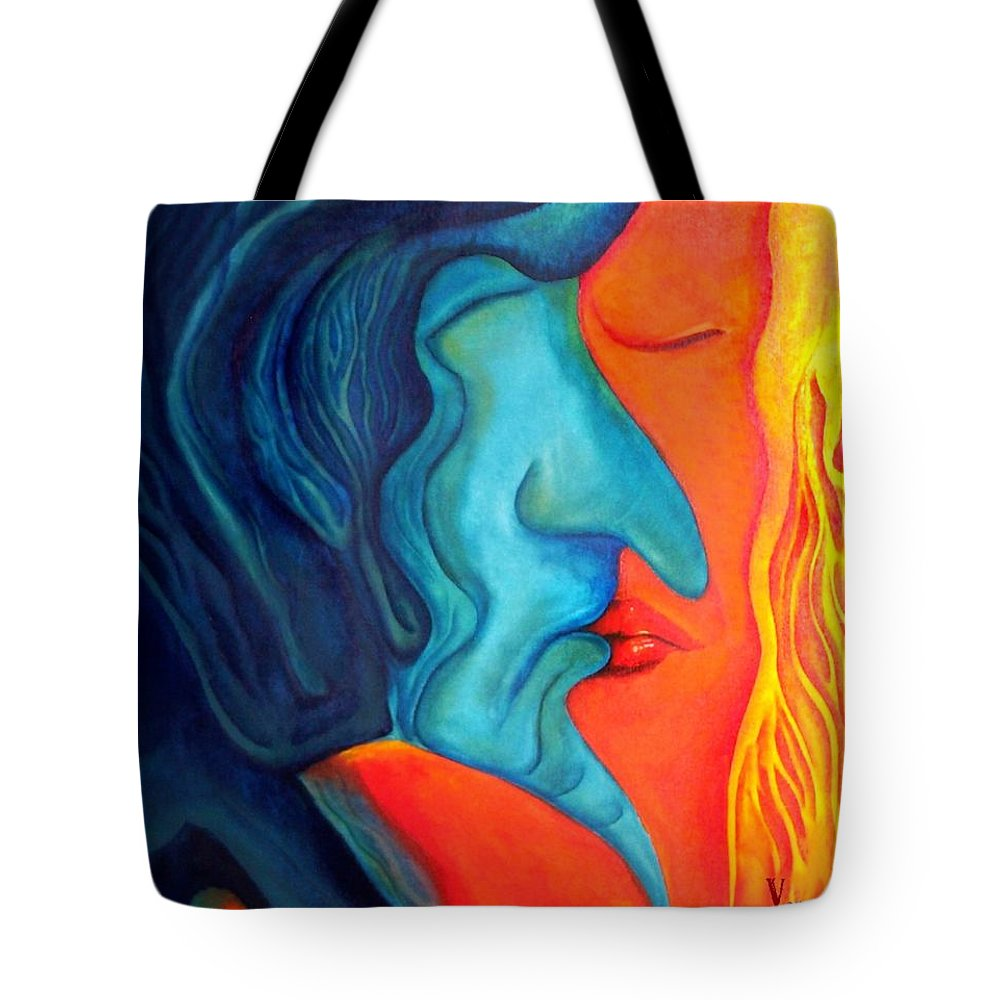 Kiss Love Passion Couple Intensity Blue Orange Fire Lust Sex Tote Bag featuring the painting The Kiss by Veronica Jackson