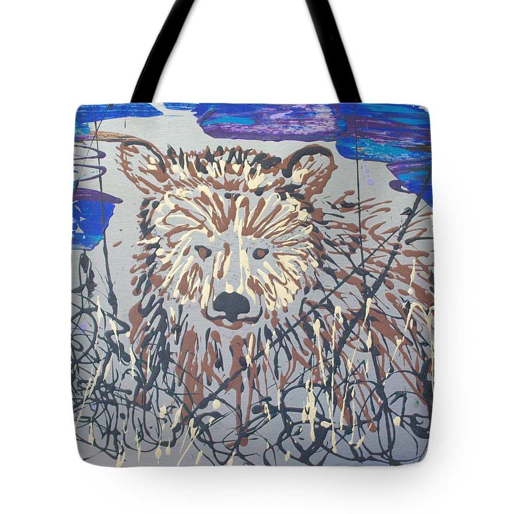 Bear In Bushes Tote Bag featuring the painting The Kodiak by J R Seymour