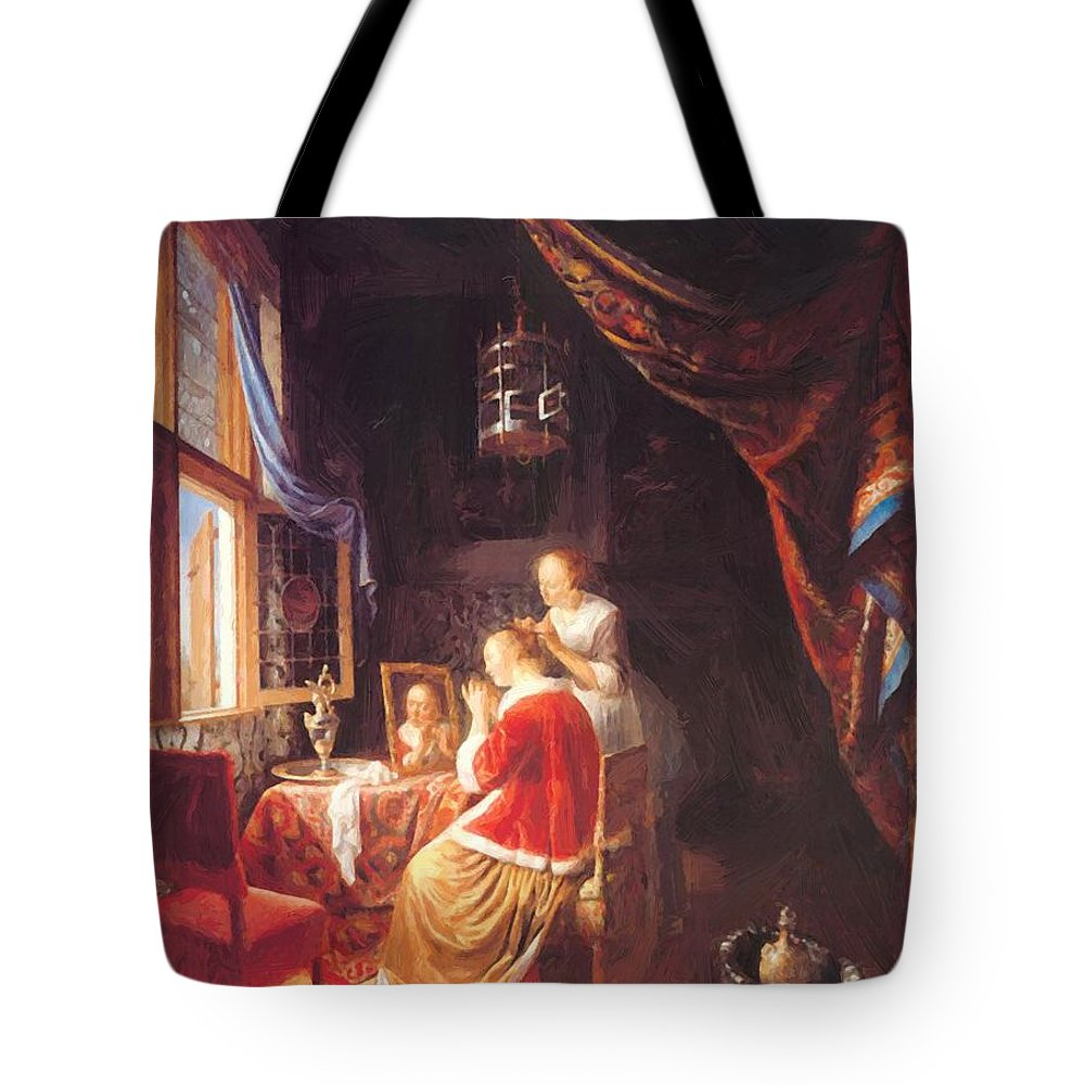 The Tote Bag featuring the painting The Lady At Her Dressing Table 1667 by Dou Gerrit
