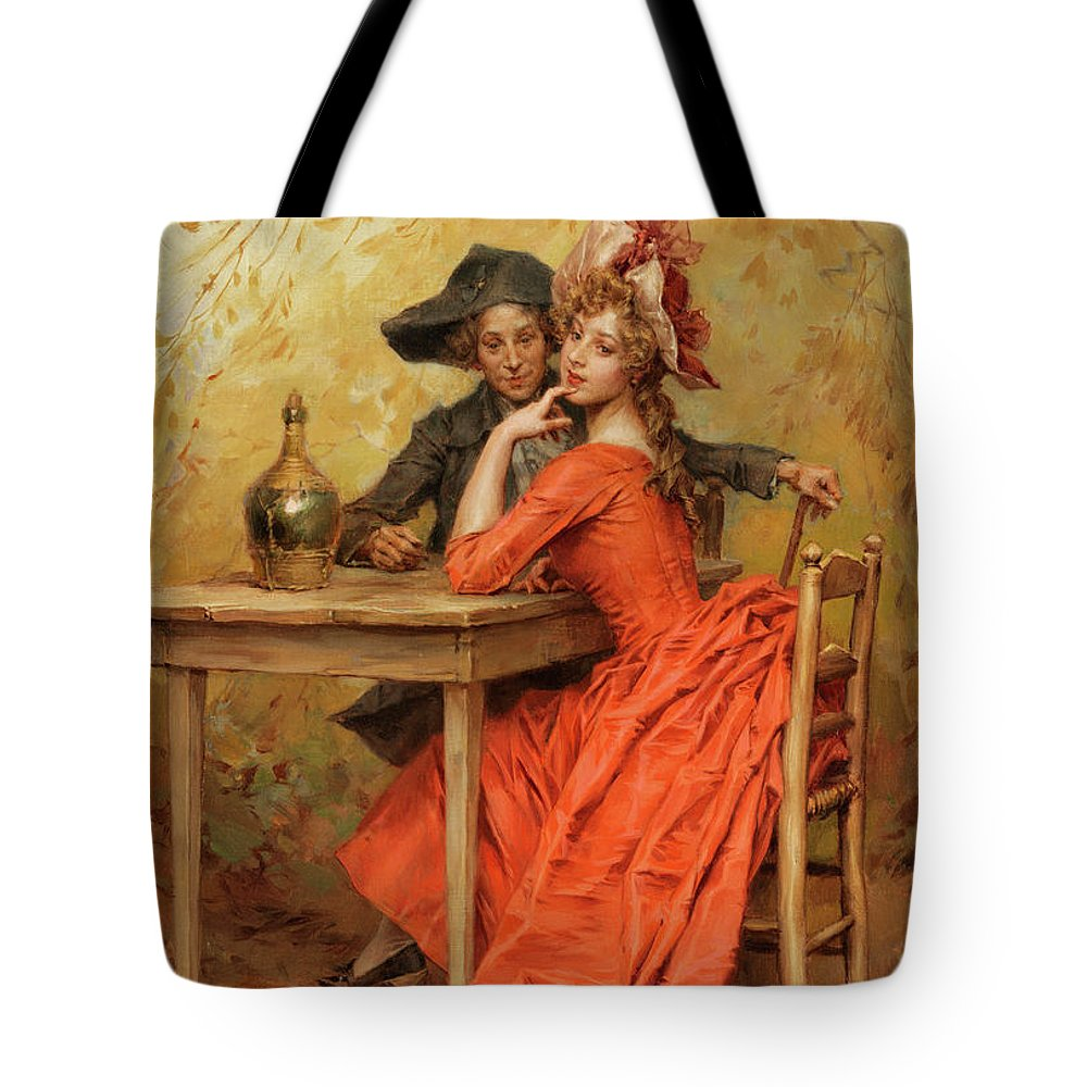 Female Tote Bag featuring the painting The Lady In Red by Frederick Hendrik Kaemmerer