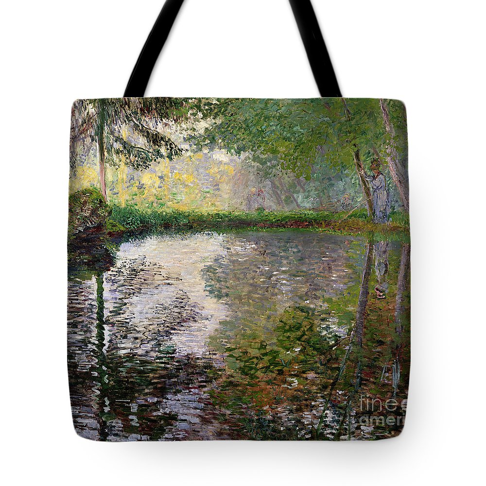 The Lake At Montgeron By Claude Monet (1840-1926) Tote Bag featuring the painting The Lake at Montgeron by Claude Monet