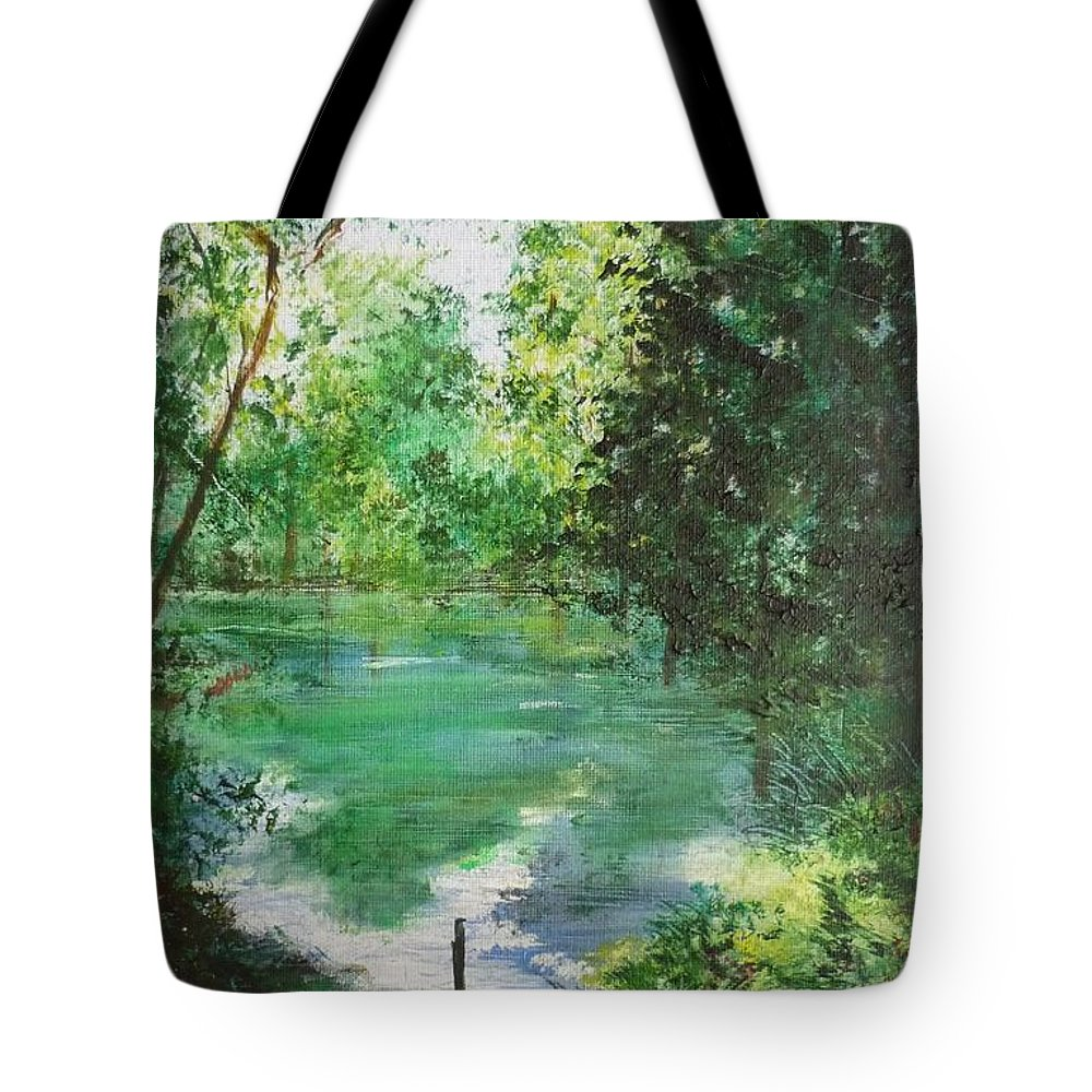 Lake Tote Bag featuring the painting The Lake At Stansted Unfinished by Lizzy Forrester