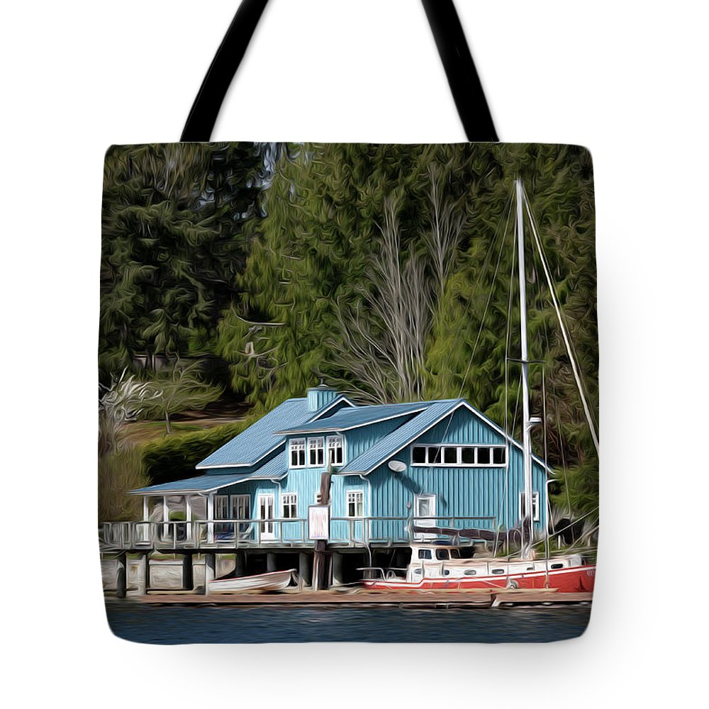 Lake Tote Bag featuring the digital art The Lake House - Digital Oil by Steve Owst