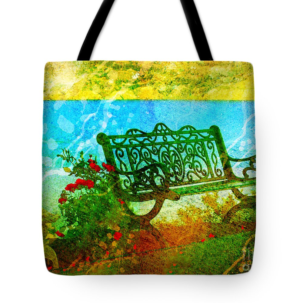 Bench Tote Bag featuring the photograph The Lakeview Bench by Tara Turner