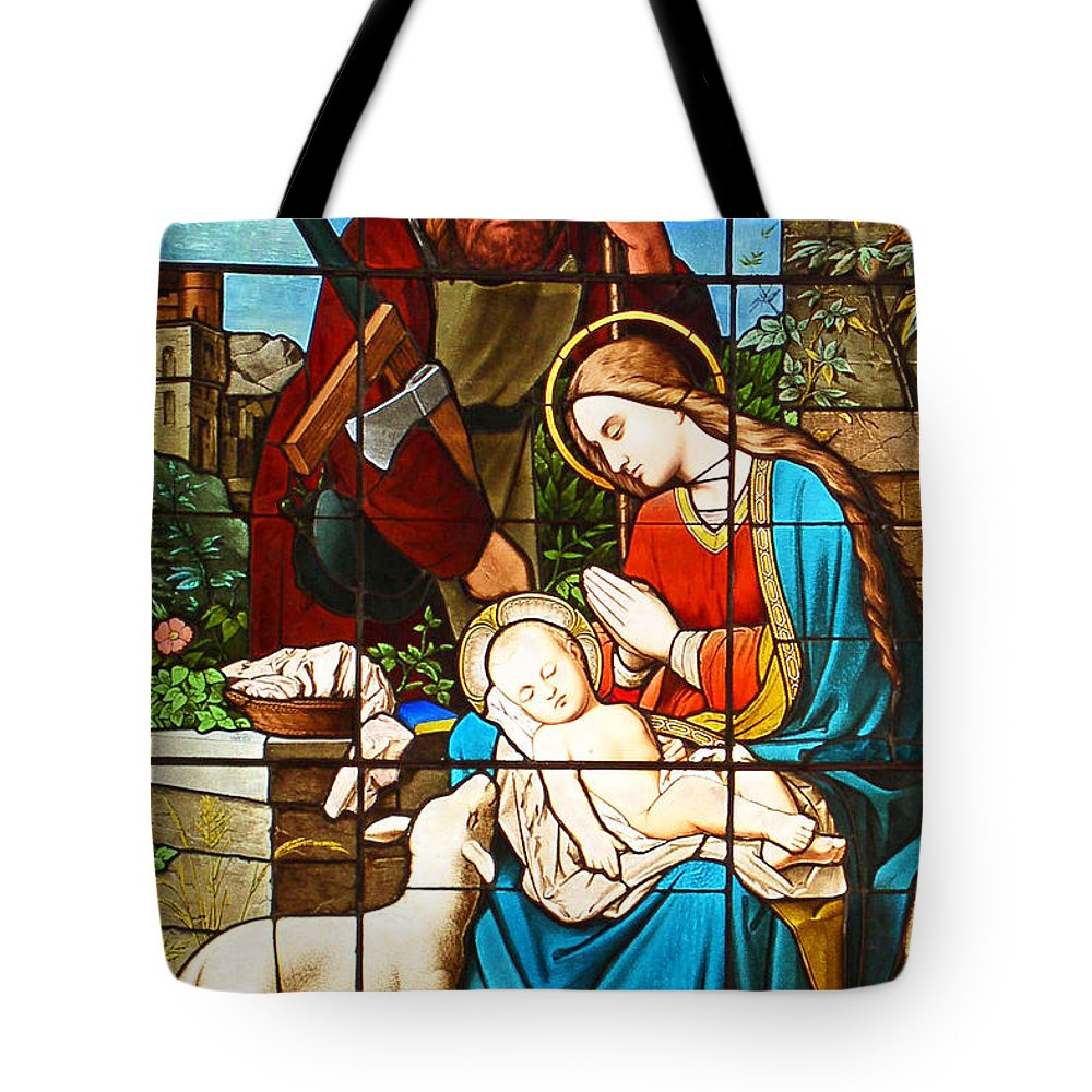 Stained Glass Tote Bag featuring the painting The Lamb by Munir Alawi
