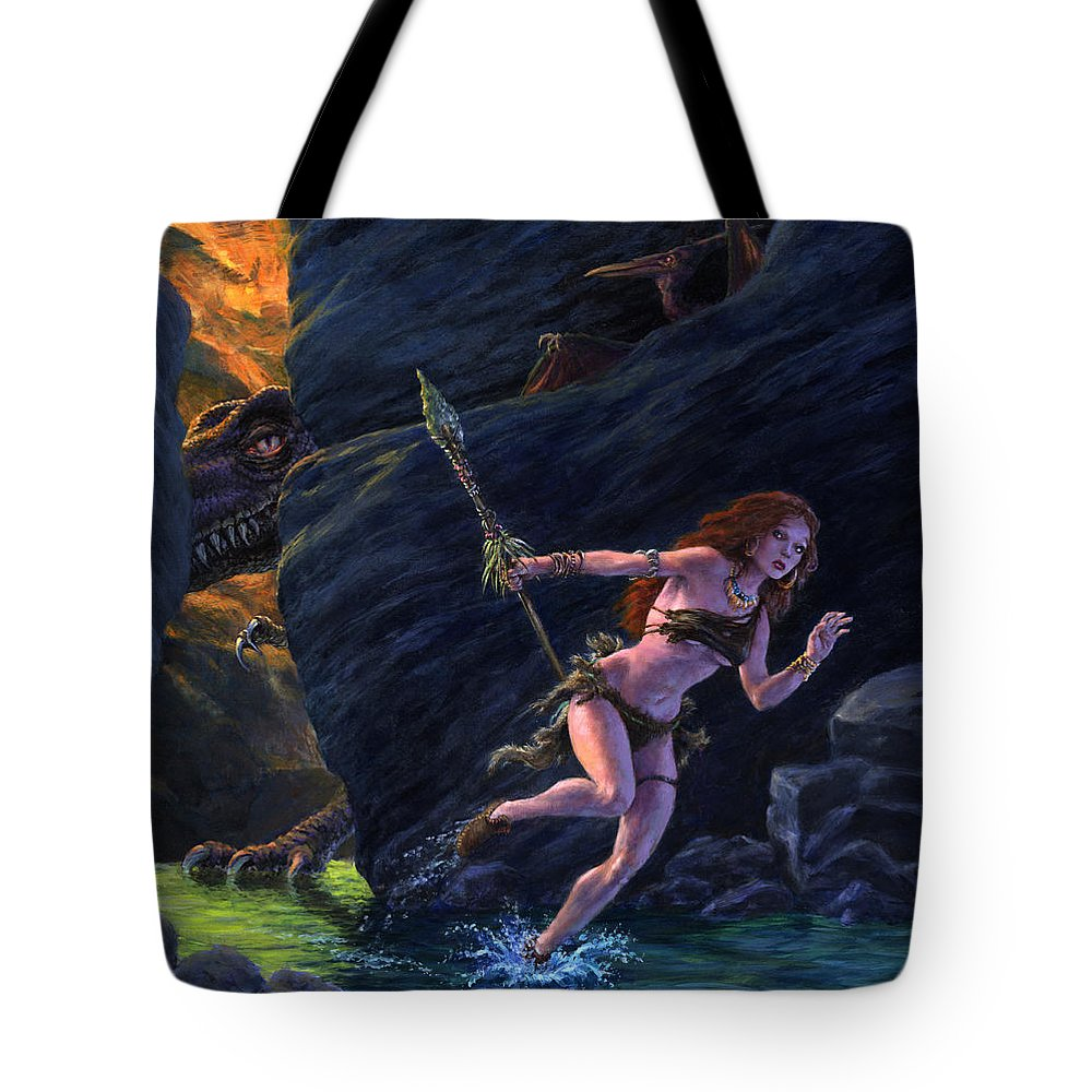 Fantasy Tote Bag featuring the painting The Land That Time Forgot by Richard Hescox