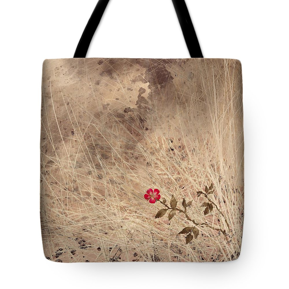 Abstract Tote Bag featuring the digital art The Last Blossom by William Russell Nowicki