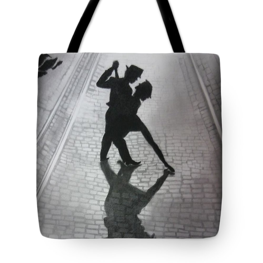 Dance Tote Bag featuring the drawing The Last Dance by Samar Abdelmonem