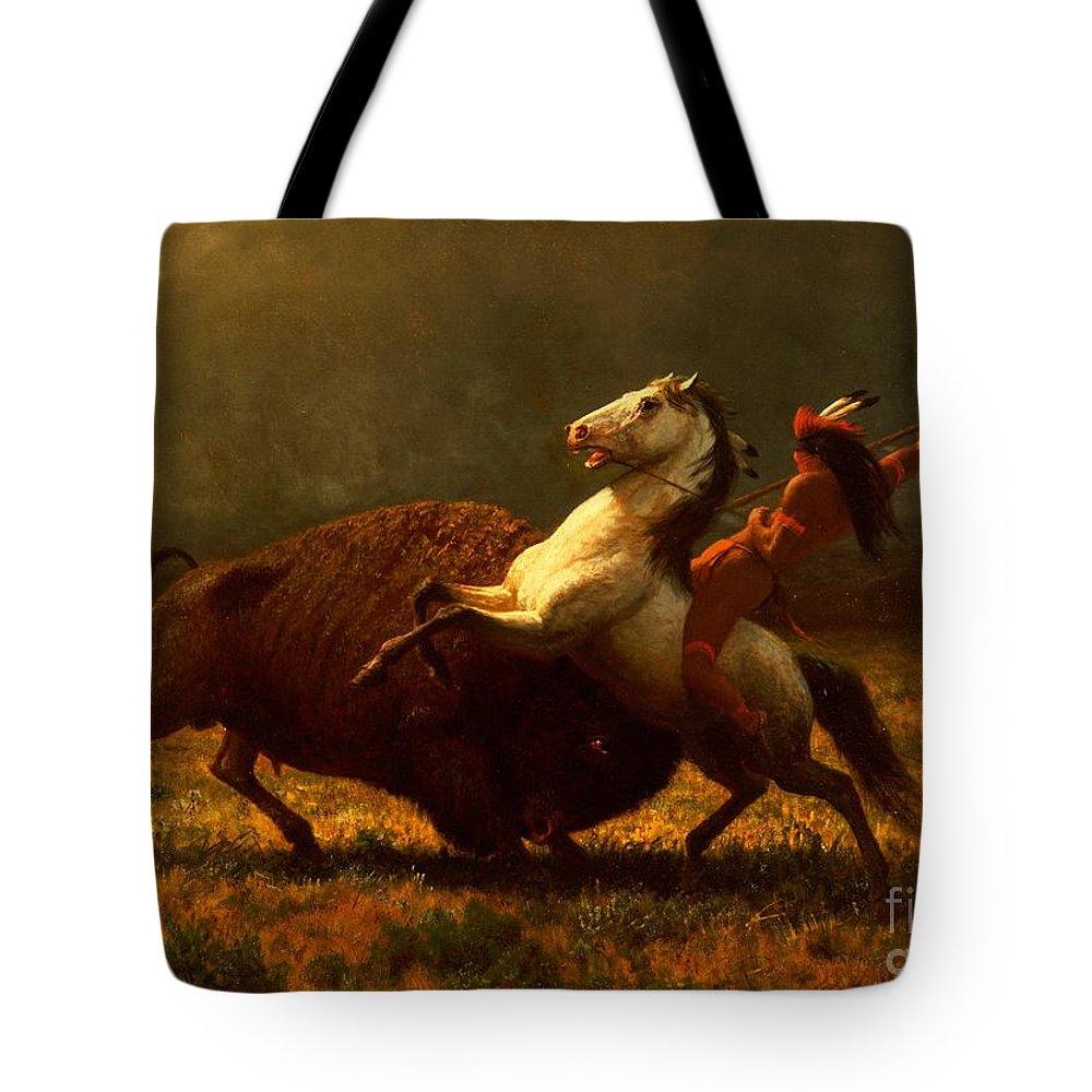Albert Bierstadt Tote Bag featuring the painting The Last of the Buffalo by Albert Bierstadt